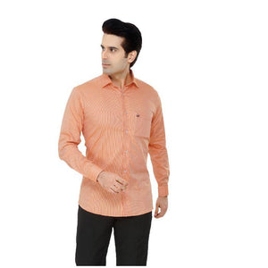 Men Orange Checks Plus Size Formal Shirt - Donzell