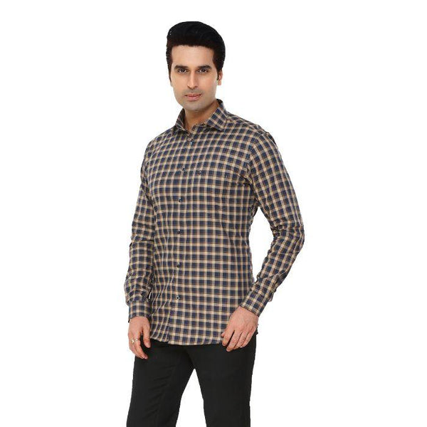 Men Multicolor Checks Plus Size Formal Shirt - Donzell