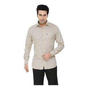 Men Cream Checks Plus Size Formal Shirt - Donzell