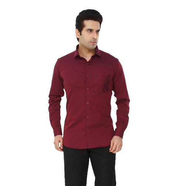 Men Maroon Solid Plus Size Formal Shirt - Donzell