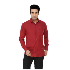 Men Red Plain Plus Size Formal Shirt - Donzell