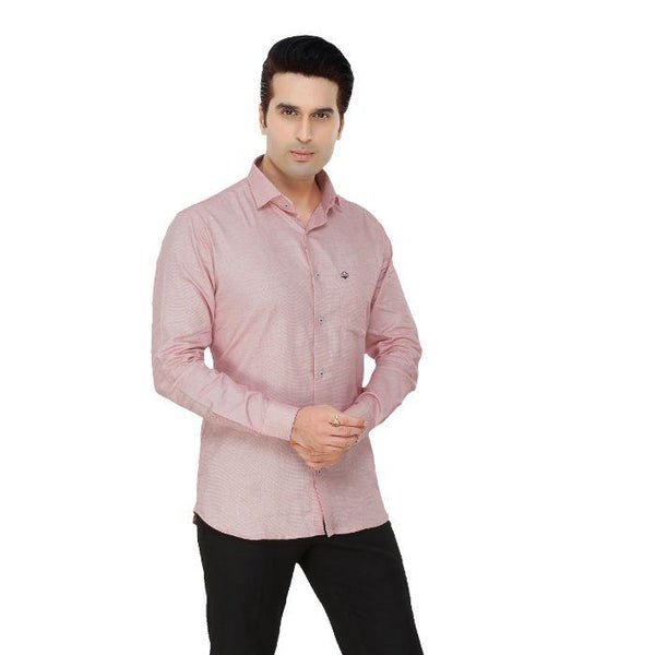 Men Red Dotted Plus Size Formal Shirt - Donzell