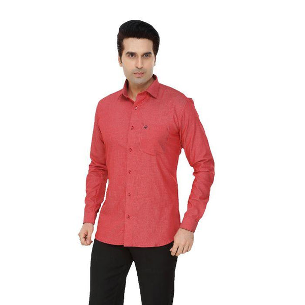 Men Red Plus Size Formal Shirt - Donzell