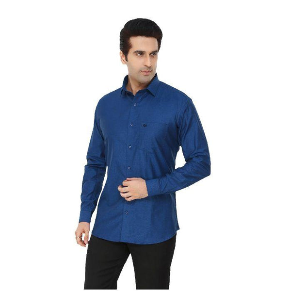 Men Blue Solid Plus Size Formal Shirt - Donzell