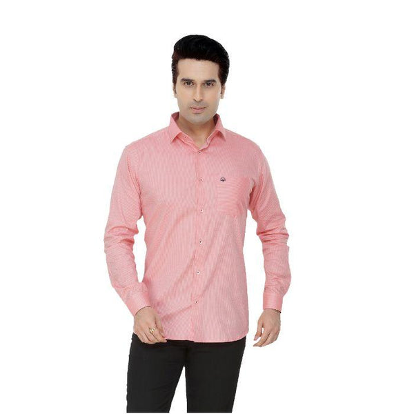 Men Pink Dotted Plus Size Formal Shirt - Donzell