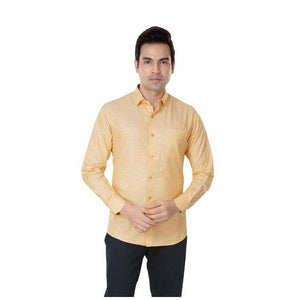 Men Yellow Solid Plus Size Formal Shirt - Donzell