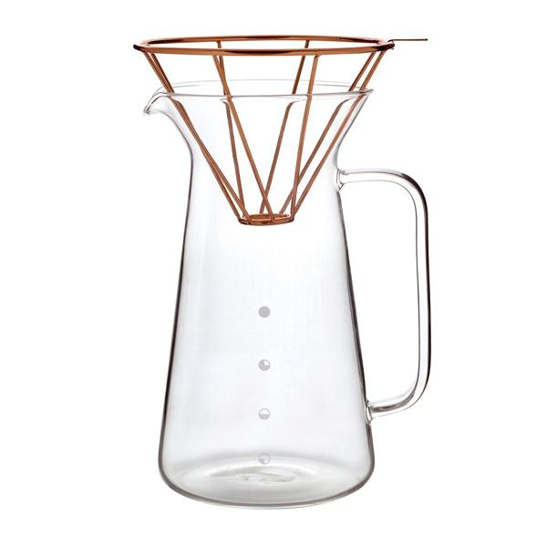TOAST Glaskaraffe & Kupfer Filterhalter Set in minimalistischem Design - carabica - fine coffee culture