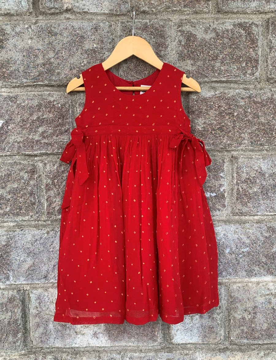Red Side Tie-Up Bandhani Frock