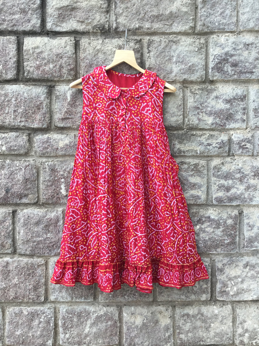 Red Bandhani Frock with Peter Pan Collar
