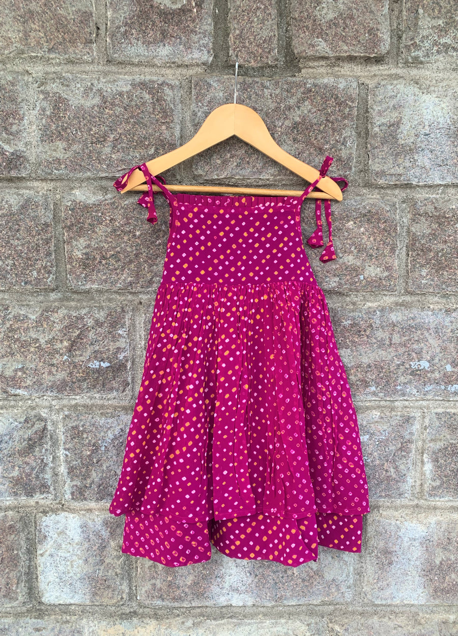 Magenta Pleated Bandhani Frock
