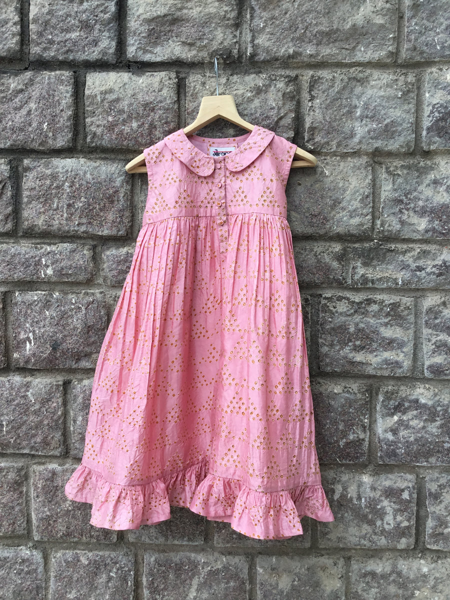 Pink Bandhani Frock with Peter Pan Collar