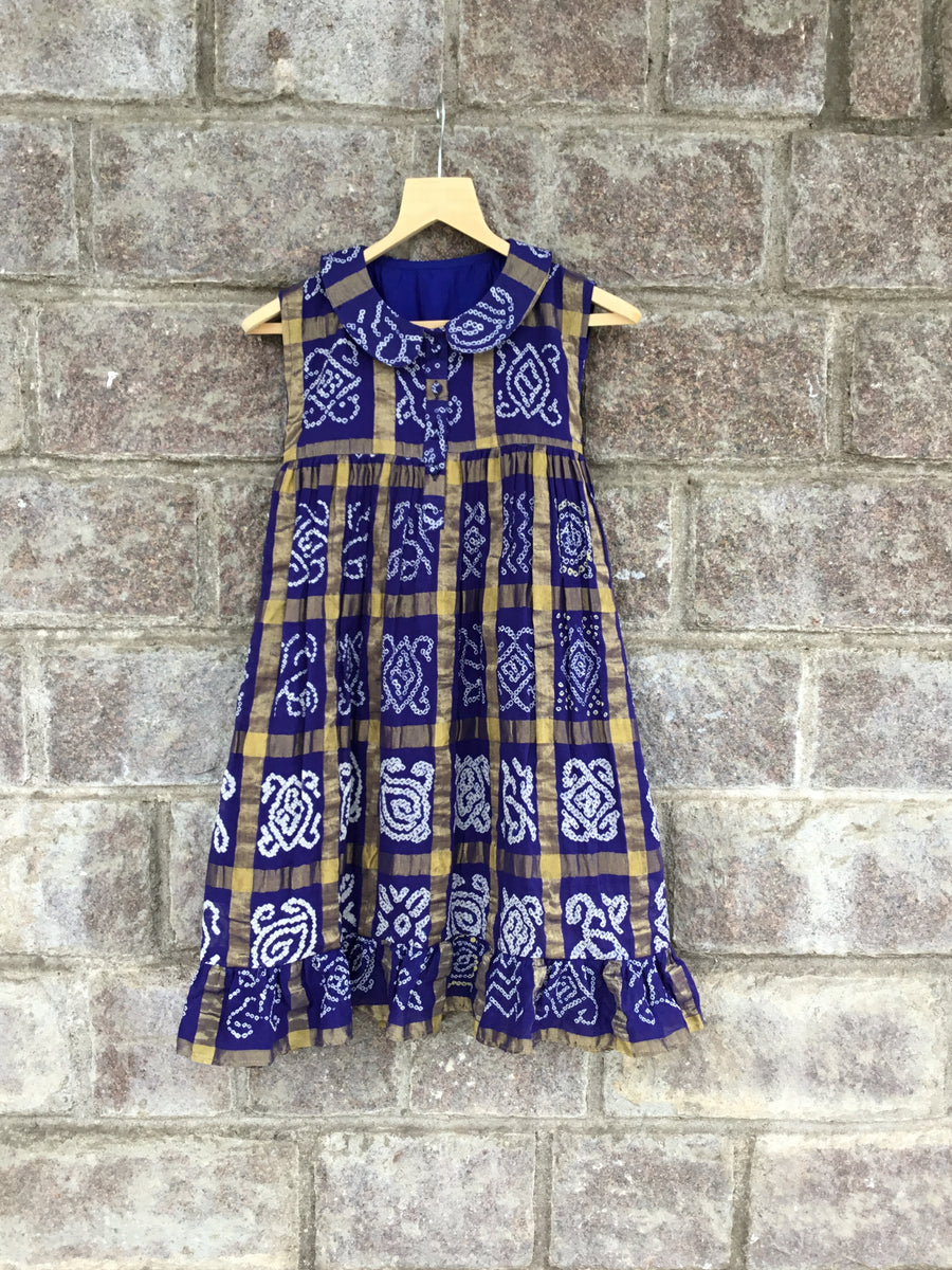 Navy Blue Bandhani Frock with Peter Pan Collar
