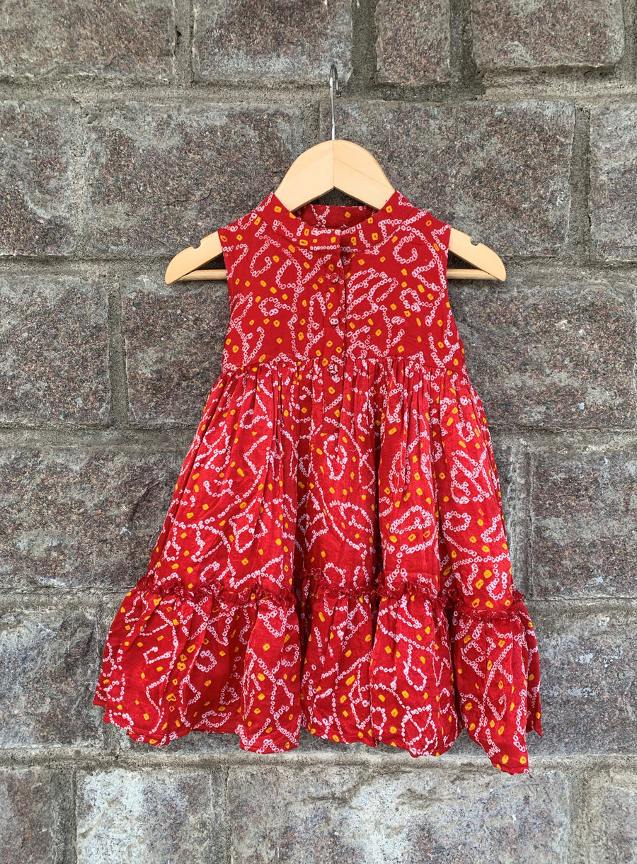 Bright Red Chinese Colllar Bandhani Frock