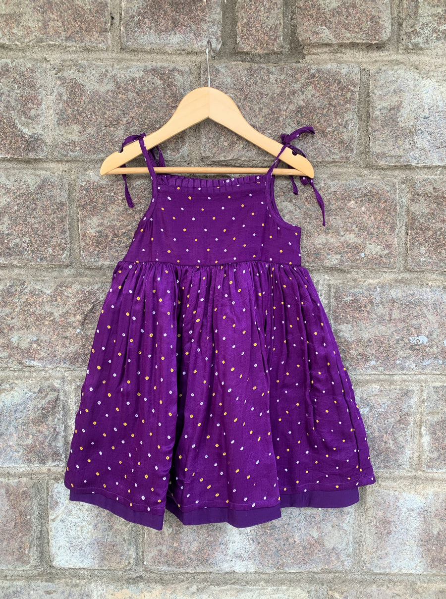 Purple Pleated Bandhani Frock