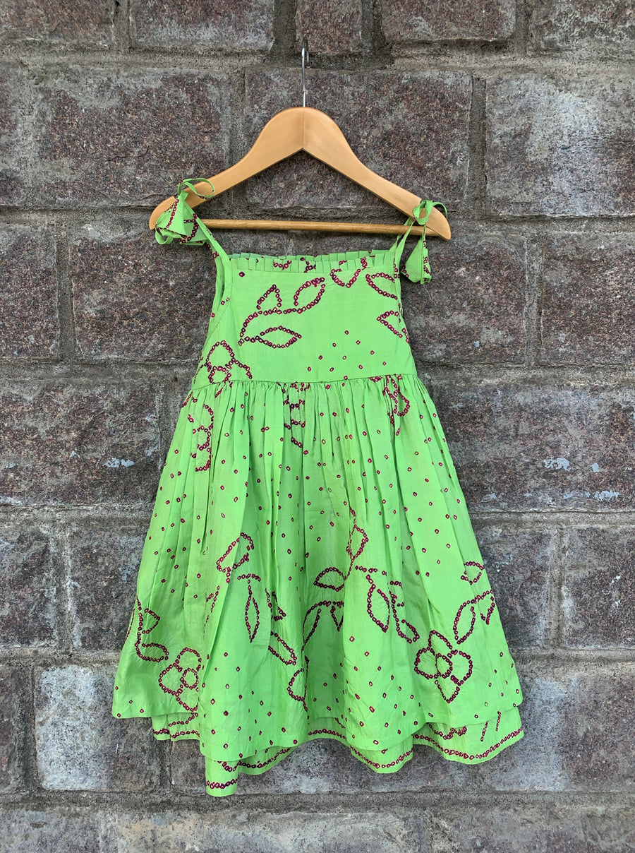 Green Pleated Bandhani Frock