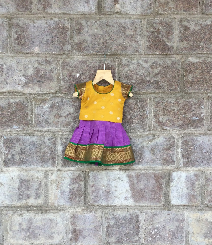 Purple & Yellow Kanjeevaram silk lehenga