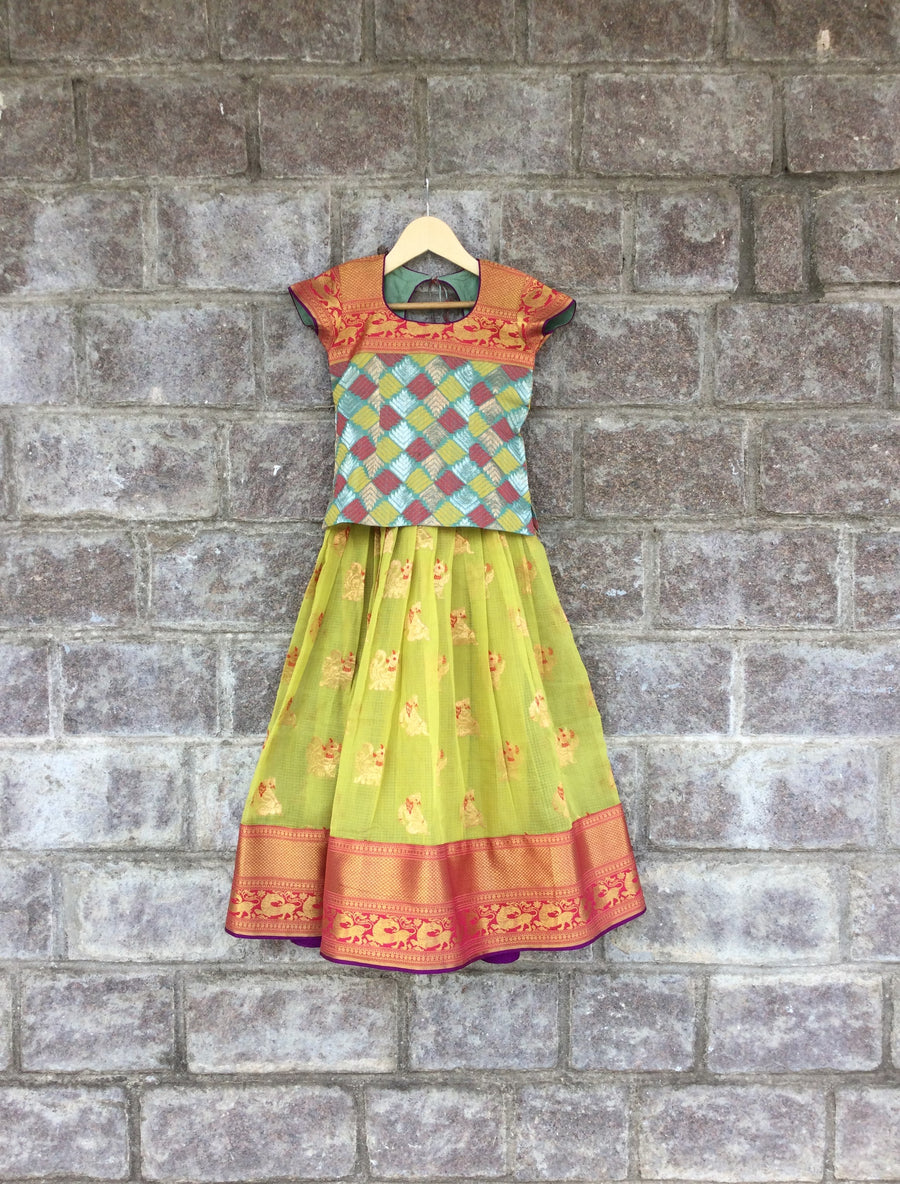 Green & Blue Kota Jamdani Lehenga With Kanjeevaram Border