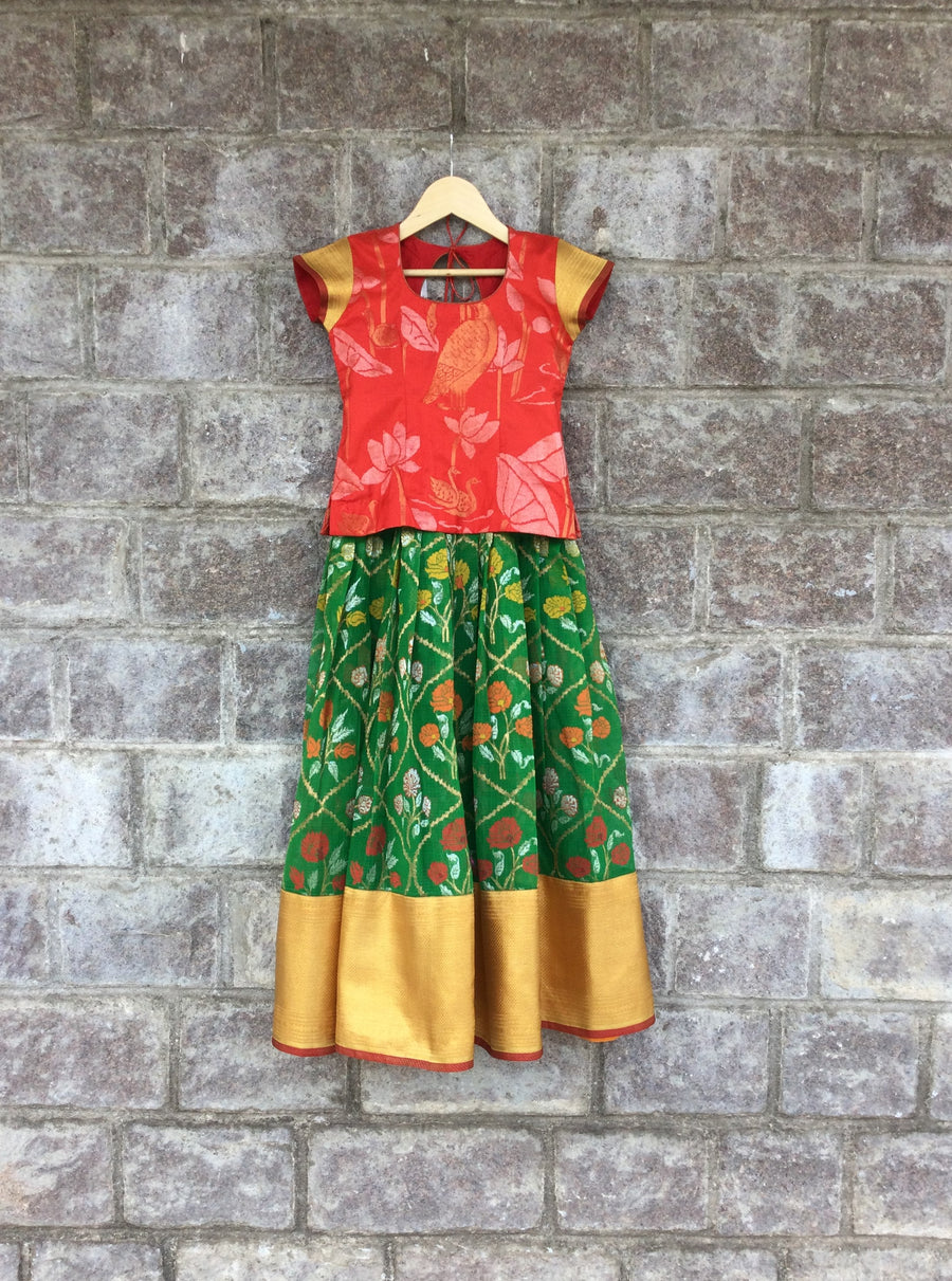 Green & Red Kota Jamdani Lehenga With Uppada Blouse