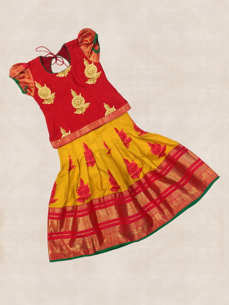 Red and Yellow Hand woven Hand embroidered Kanjeevaram silk Ghaghara with blouse