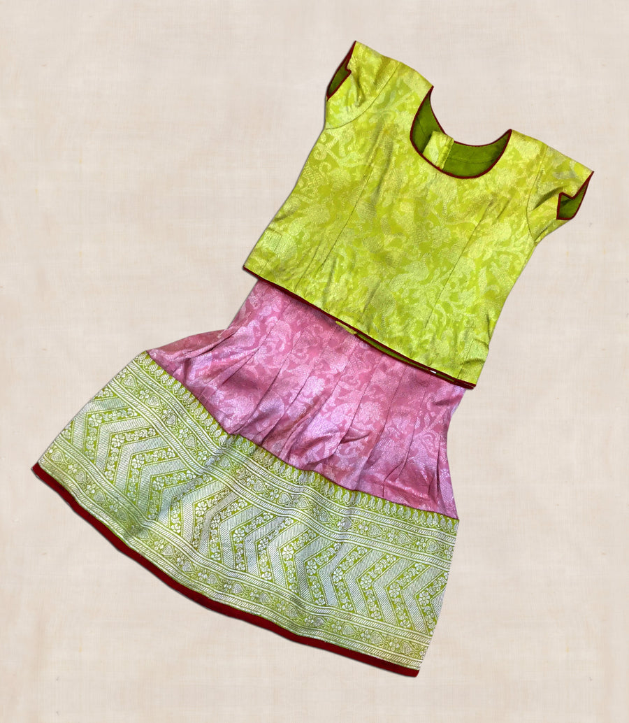 Lime and Purple Hand woven Benaras silk Ghaghara with blouse