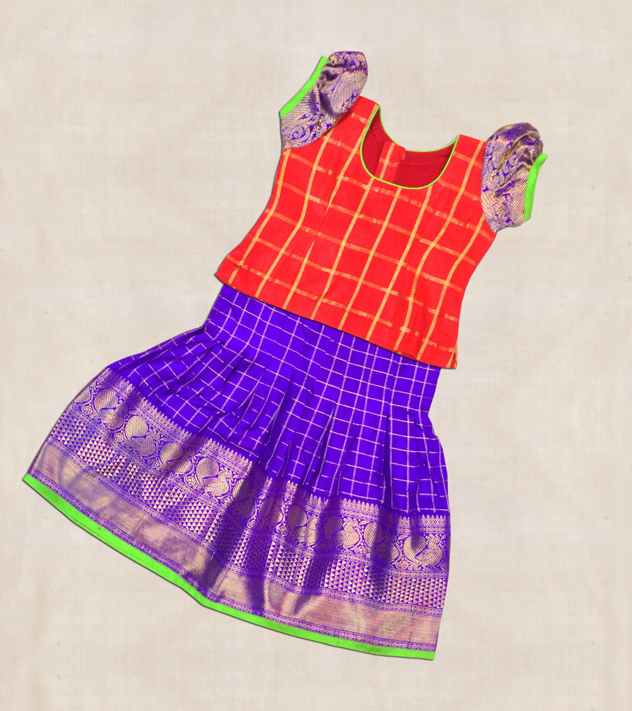Red And Purple Hand woven Kanjeevaram silk Ghaghara with blouse