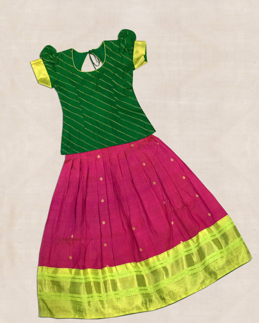 Green and Pink Hand woven kanjeevaram silk ghaghara with blouse