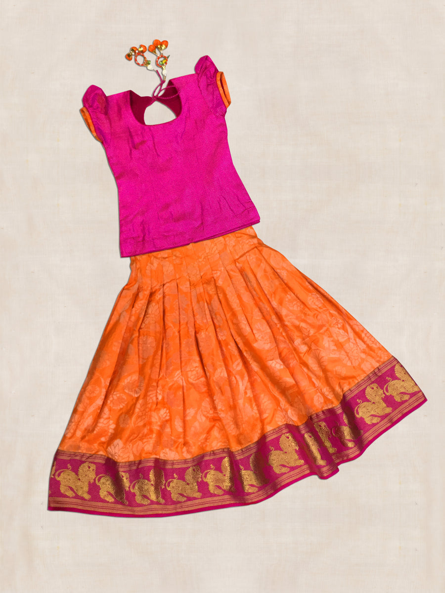 Pink and Orange Hand woven Kanjeevaram silk Ghaghara with blouse