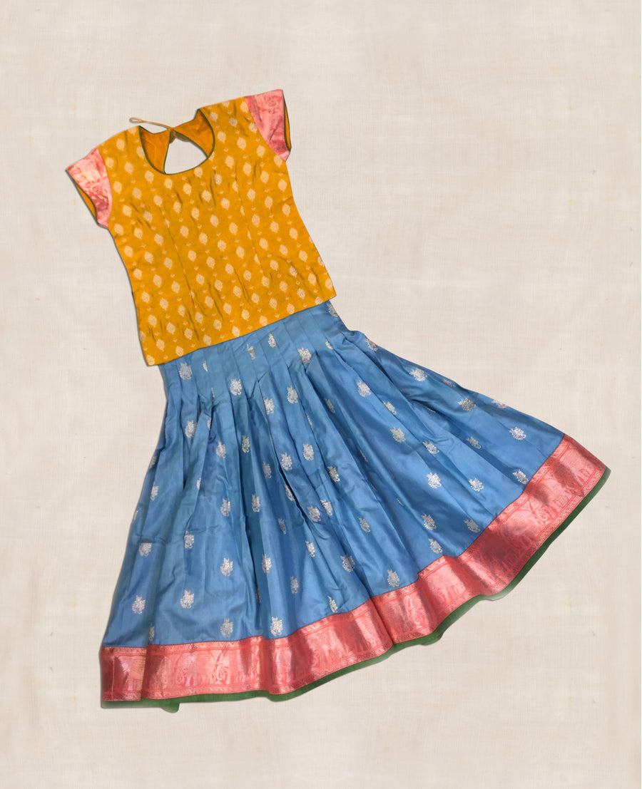 Mustard And Blue Hand woven Benaras silk Ghaghara with blouse
