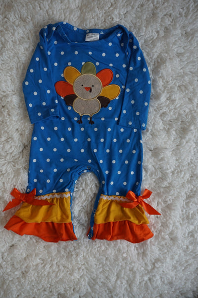 Girl's Turkey Baby Romper