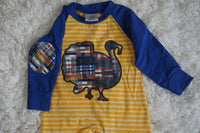 Boy's Plaid Turkey Romper