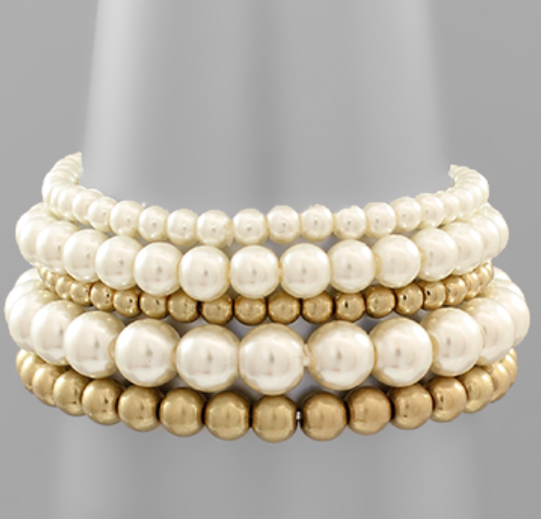 Stacked 5 Row Pearl Bracelet