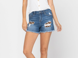 Judy Blue Mid-Rise Leopard Patch Underlay Short