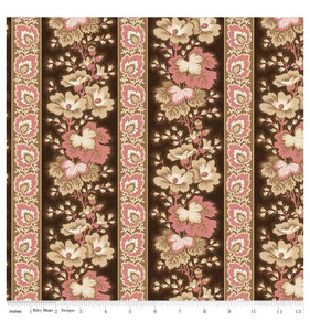 Samantha - Floral Stripe - Brown/Pink