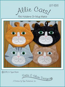 Allie Cats -  Pot Grabbers or Mug Mats - Pattern