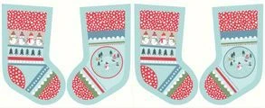 Snow Day - Stocking  Panel - Blue