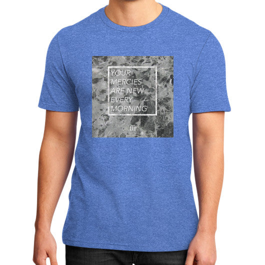 District T-Shirt (on man) Heather blue Audrey Assad Store