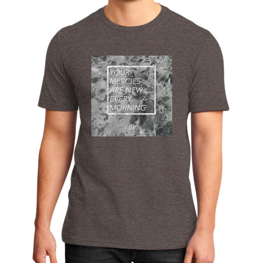 District T-Shirt (on man) Heather brown Audrey Assad Store