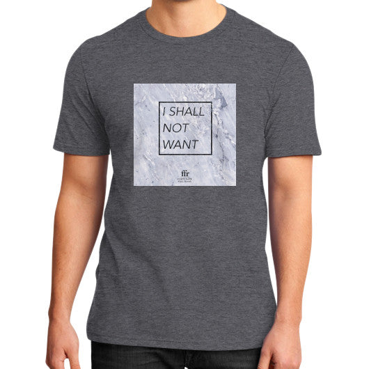 District T-Shirt (on man) Heather charcoal Audrey Assad Store