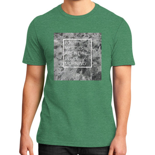 District T-Shirt (on man) Heather green Audrey Assad Store