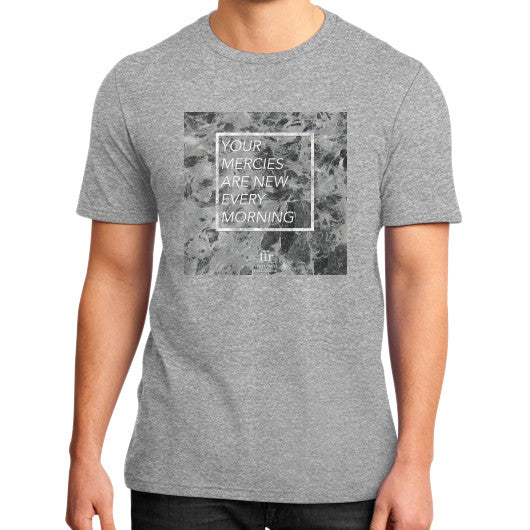 District T-Shirt (on man) Heather grey Audrey Assad Store