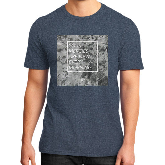 District T-Shirt (on man) Heather navy Audrey Assad Store