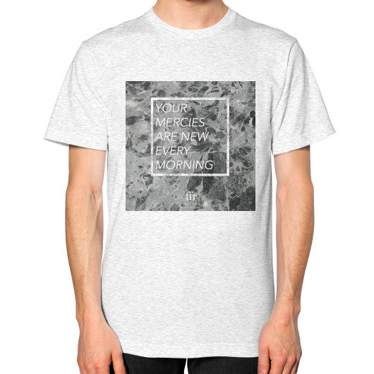 Unisex T-Shirt (on man) Ash grey Audrey Assad Store