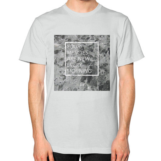 Unisex T-Shirt (on man) Silver Audrey Assad Store
