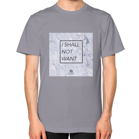 Unisex T-Shirt (on man) Slate Audrey Assad Store