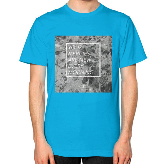 Unisex T-Shirt (on man) Teal Audrey Assad Store