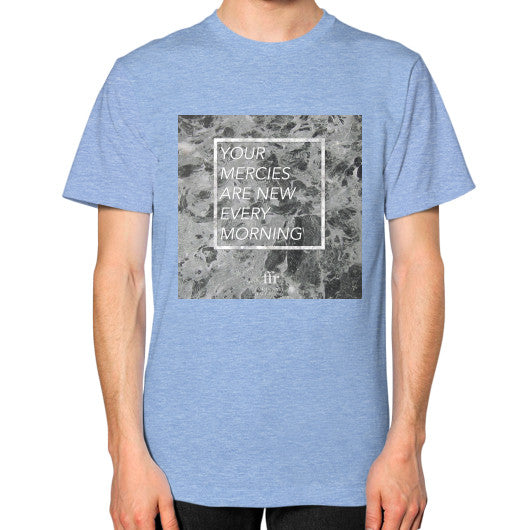 Unisex T-Shirt (on man) Tri-Blend Blue Audrey Assad Store