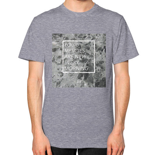 Unisex T-Shirt (on man) Tri-Blend Grey Audrey Assad Store