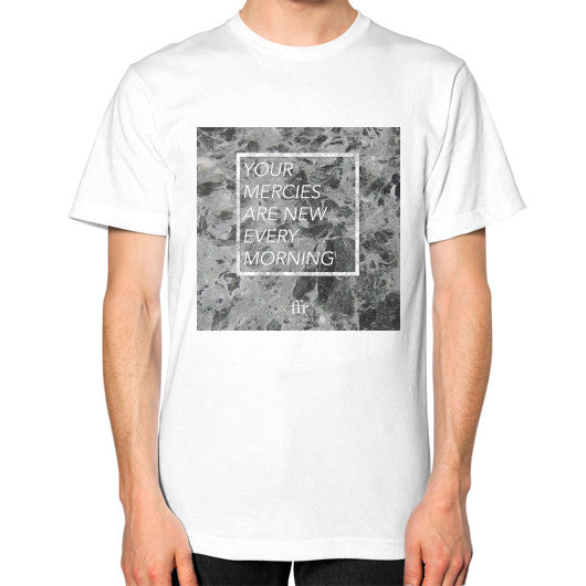 Unisex T-Shirt (on man) White Audrey Assad Store