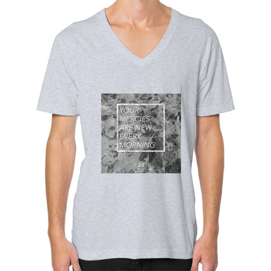 V-Neck (on man) Heather grey Audrey Assad Store