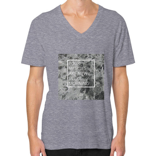 V-Neck (on man) Tri-Blend Grey Audrey Assad Store